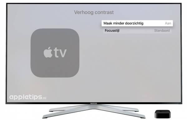Contrast en kleur aanpassen Apple TV