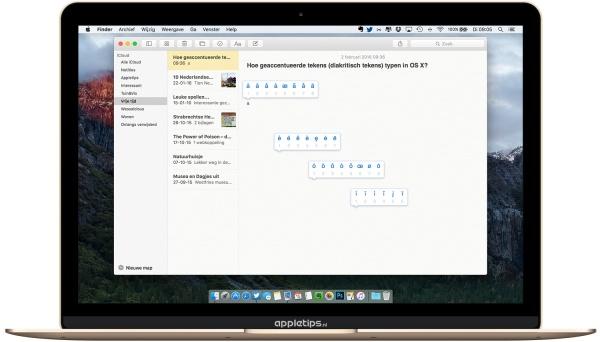diakritiche tekens typen in OS X