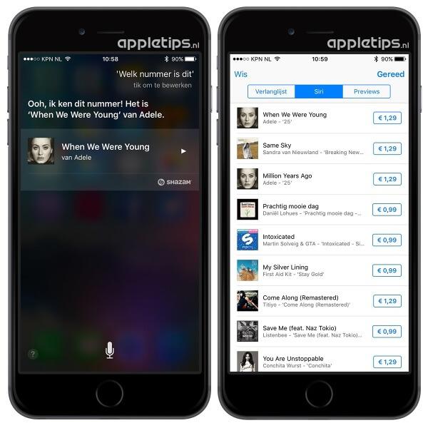 Siri muzieknummers bekijken