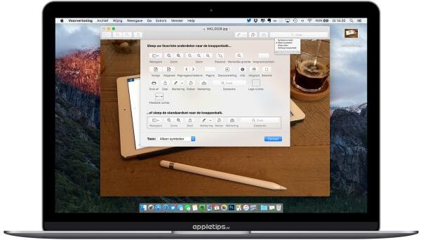 knoppenbalk aanpassen voorvertoning in OS X