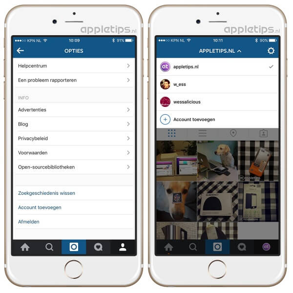 meerdere accounts Instagram app