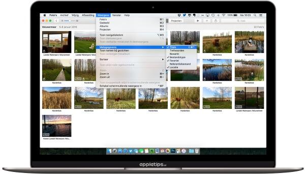 metagegevens tonen foto's voor OS X