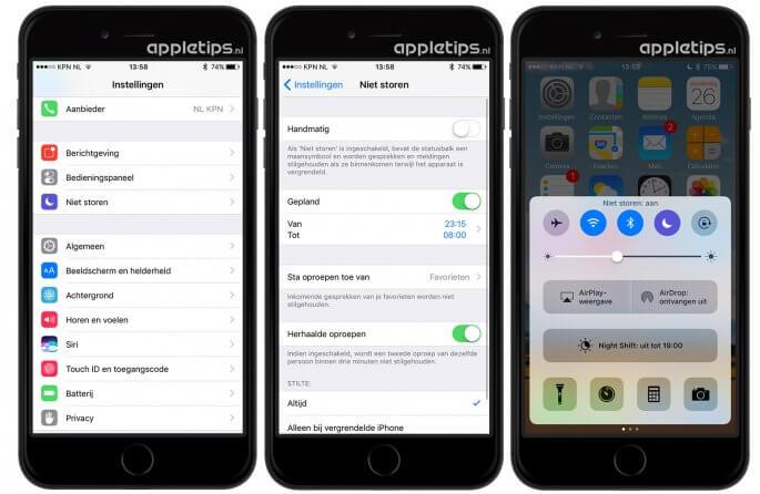 niet storen activeren in iOS