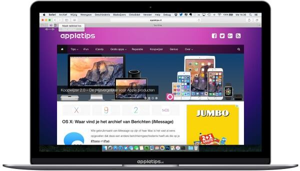 Pinned sites volgorde aanpassen in Safari