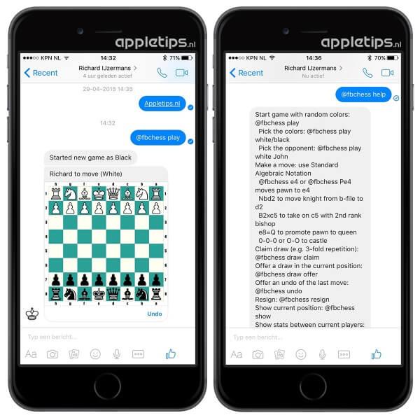 Schaken met Facebook messenger