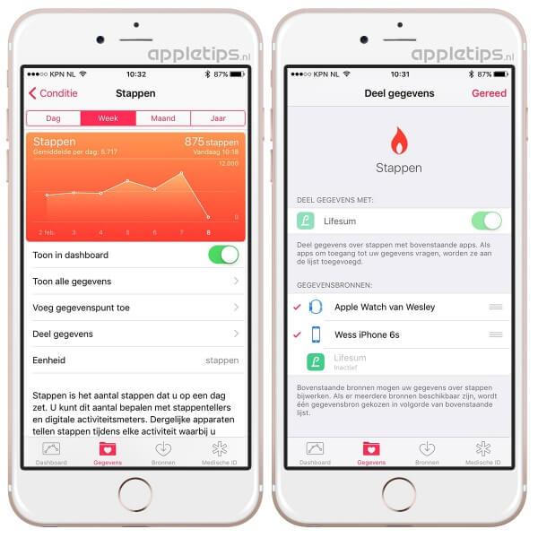 stappen gezondheid beheren in iOS