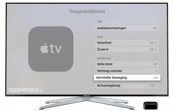 verminder beweging op de Apple TV