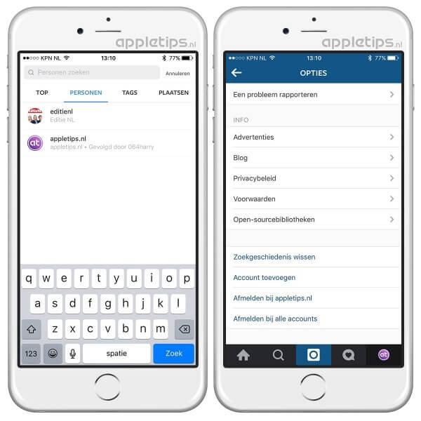 zoekgeschiedenis wissen op instagram