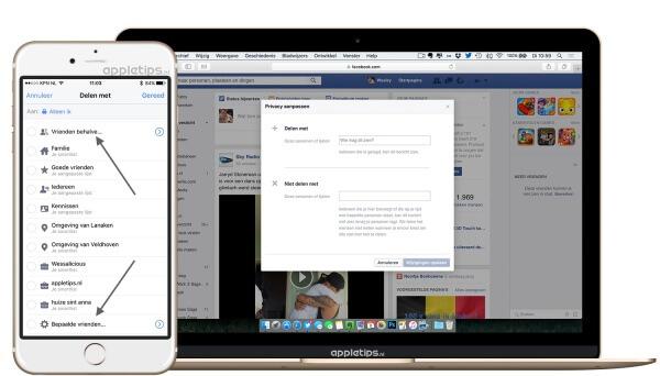 Delen op facebook aanpassen