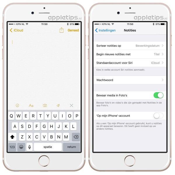 De notities applicatie in iOS kan foto's maken