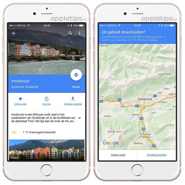 Google maps offline kaarten opslaan