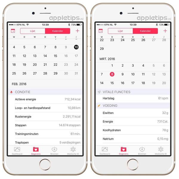 Kalender raadplegen in gezondheid
