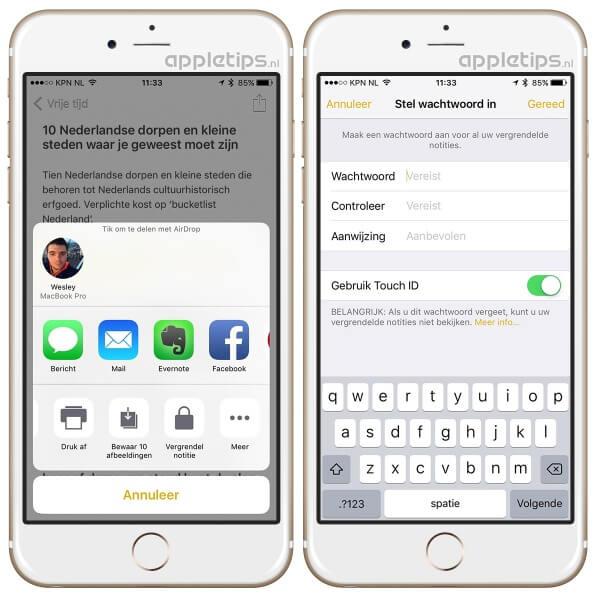 notities beveiligen met een wachtwoord in iOS 9.3