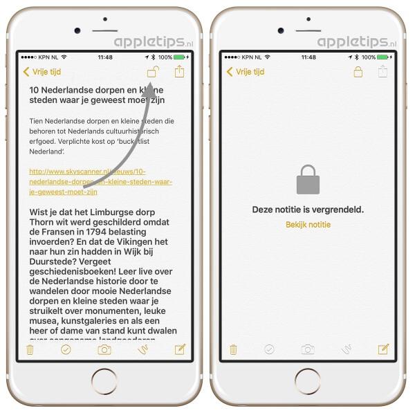 beveiligde notities ontgrendelen met touch id