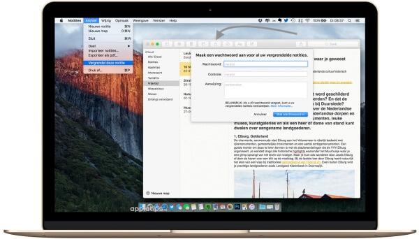 notities vergrendelen in OS X