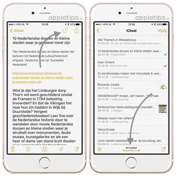 Notities handmatig beveiligen in iOS 9.3