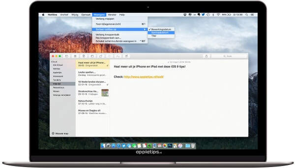 Notities sorteren in OS X