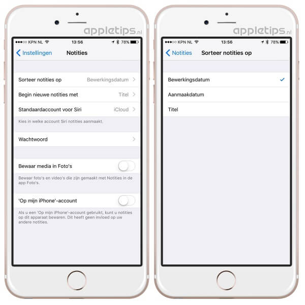 notities sorteren in iOS 9.3