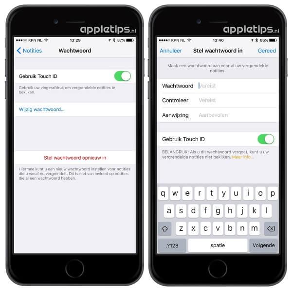 voorbeeld van het wijzigen van notities in iOS 9.3