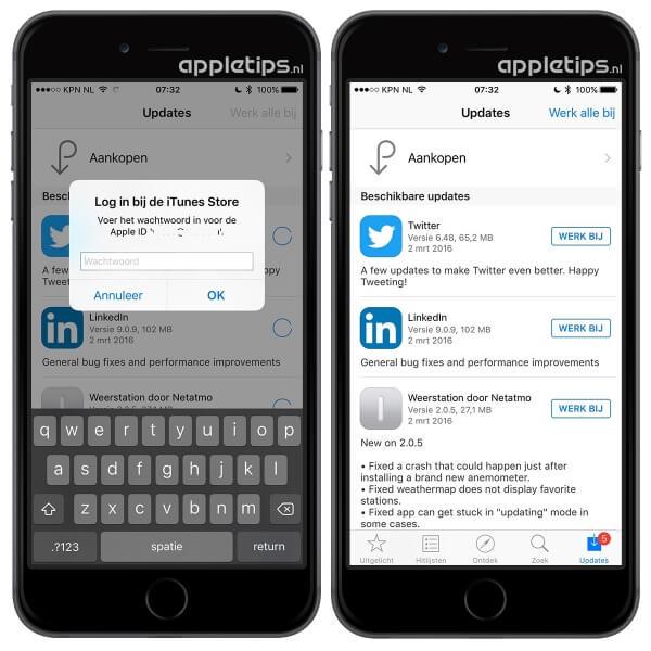 Oplossing voor steeds opnieuw invoeren van wachtwoord bij updates in App Store