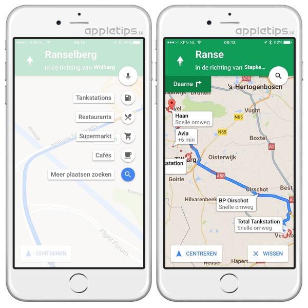 Pitstops toevoegen aan een route in Google Maps