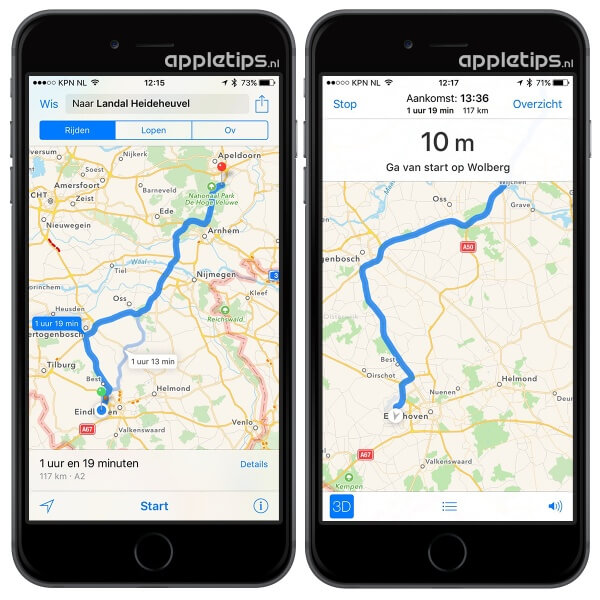 turn-by-turn navigatie Kaarten apple