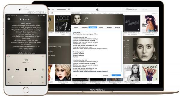 Je ziet een Macbook en een iPhone, deze tonen iTunes en de muziek applicatie met songteksten