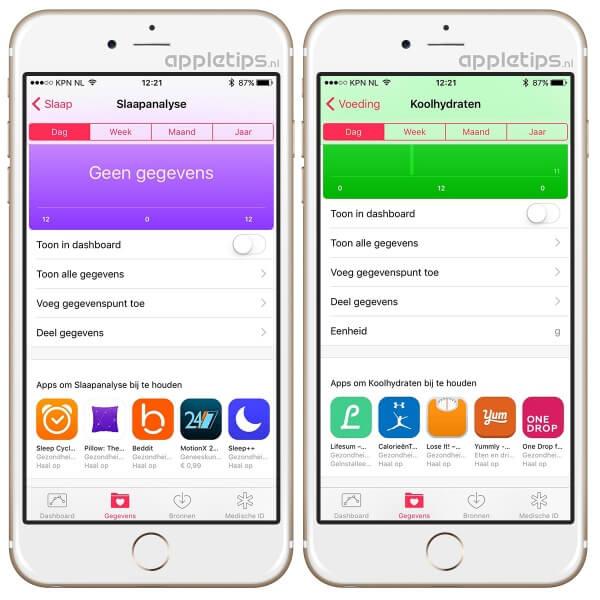 De gezondheid applicatie, toont slaap en voeding suggesties