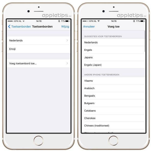 toetsenborden iOS aanpassen iphone
