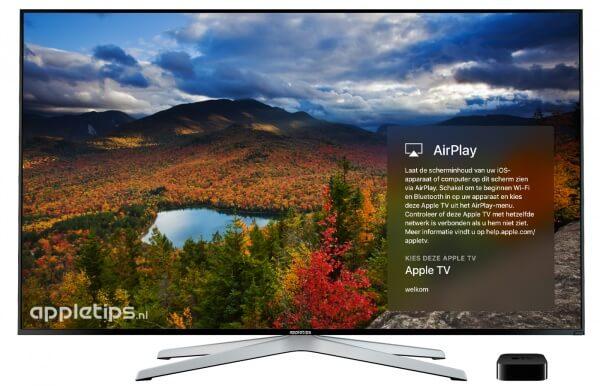 Je ziet een landschap als screensaver op de Apple TV