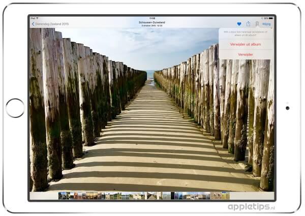 Foto's verwijderen uit album, je ziet het strand