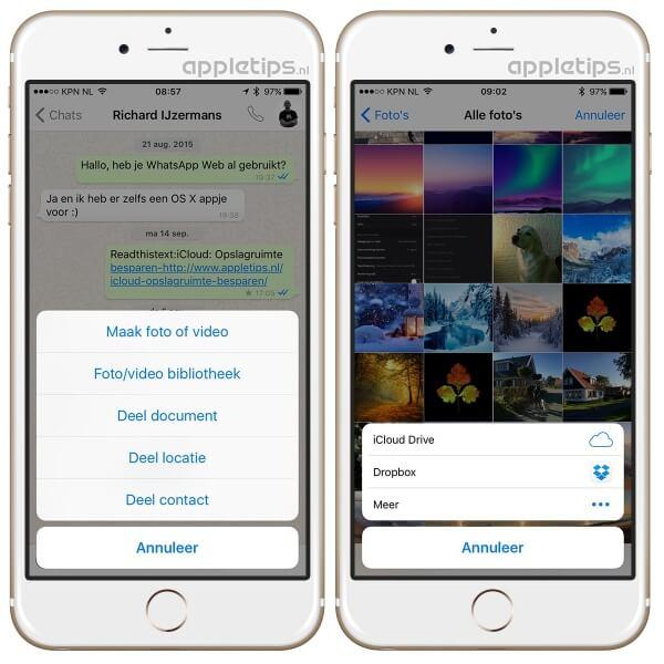 Whatsapp documenten en foto's delen uit andere apps