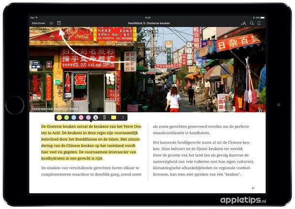Apple Pencil tekst markeren in iBooks