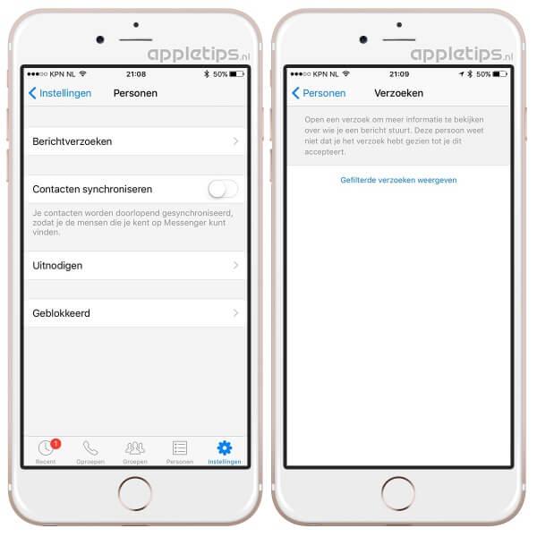 Berichtverzoeken raadplegen in de Facebook Messenger applicatie doe je zo