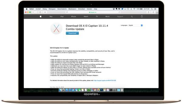 Combo-update installeren voor OS X 10.11.4