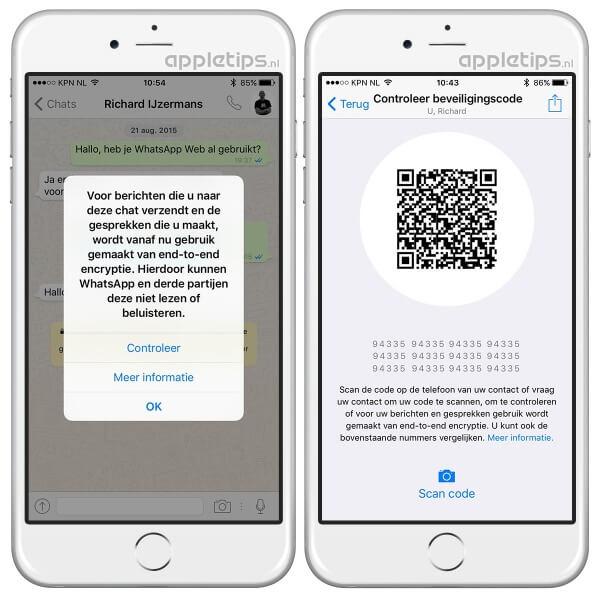 WhatsApp encryptie, toont QR-code en melding