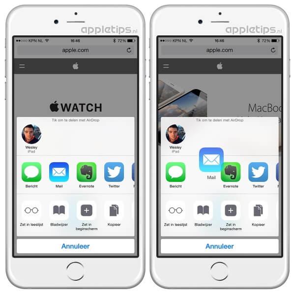 Deelopties in iOS aanpassen