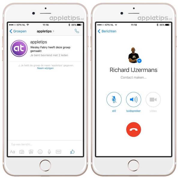 Bellen met personen en groepen via Facebook Messenger