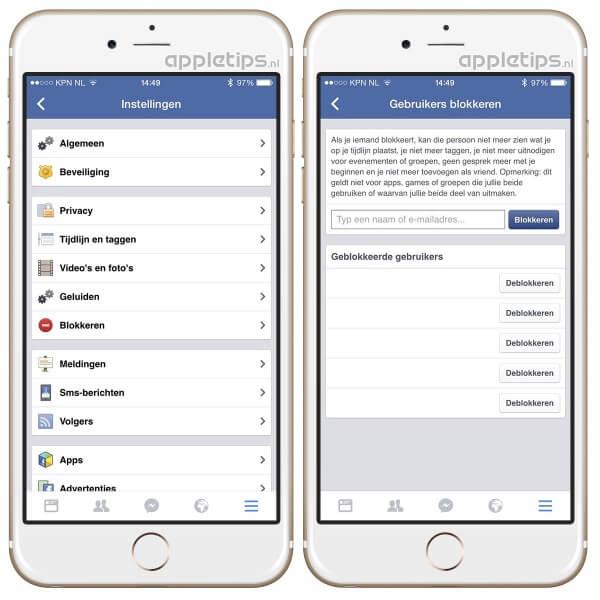 Personen blokkeren op Facebook via iOS app