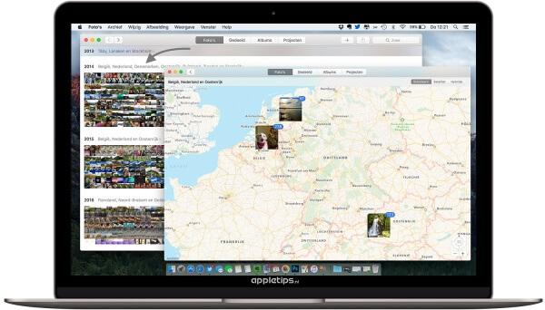 Foto's en video's op de kaart tonen