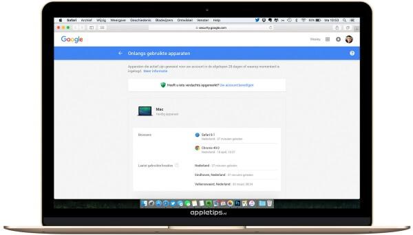 apparaten Google Account controleren