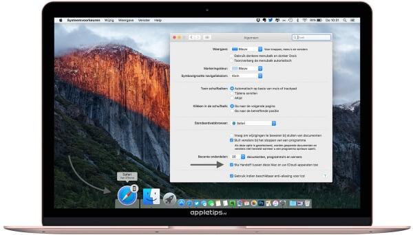 Handoff gebruiken en instellen op een Mac