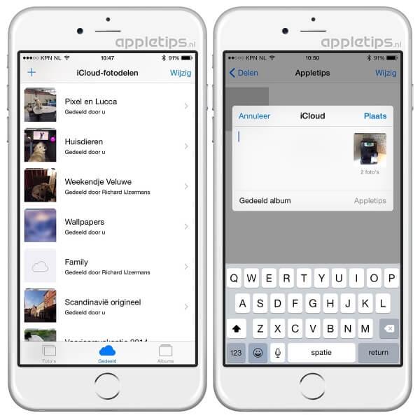 iCloud-fotodelen activeren in iOS