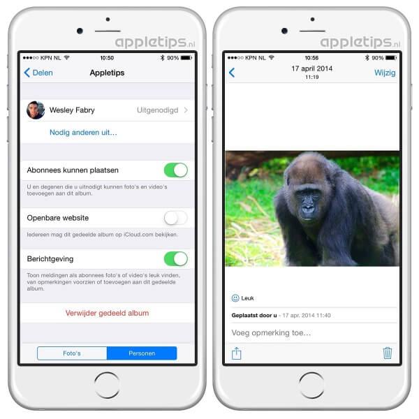 Een gedeeld album iCloud-fotodelen activeren in iOS