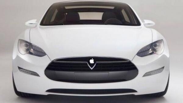 Een witte auto met Apple logo