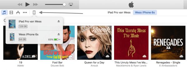 Apparaat kiezen in iTunes doe je zo