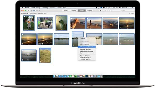 Beweging van meerdere live photos verwijderen in Foto's voor OS X