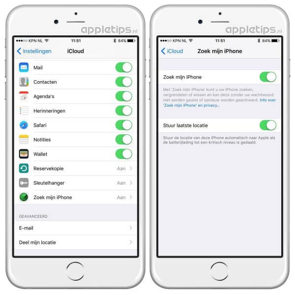 iPhone locatie versturen bij laag batterijniveau