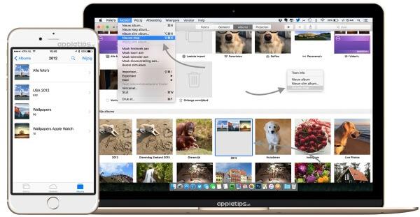 Foto's voor OS X, albums in mappen plaatsen