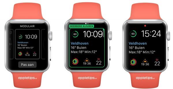 Meerdere kleuren modulair in watchOS 2 wijzerplaat op de Apple Watch